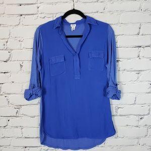 Splendid Blue Elbow Sleeve Blouse